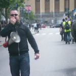Demonstration mot FRA 2008 - Kille med megafon
