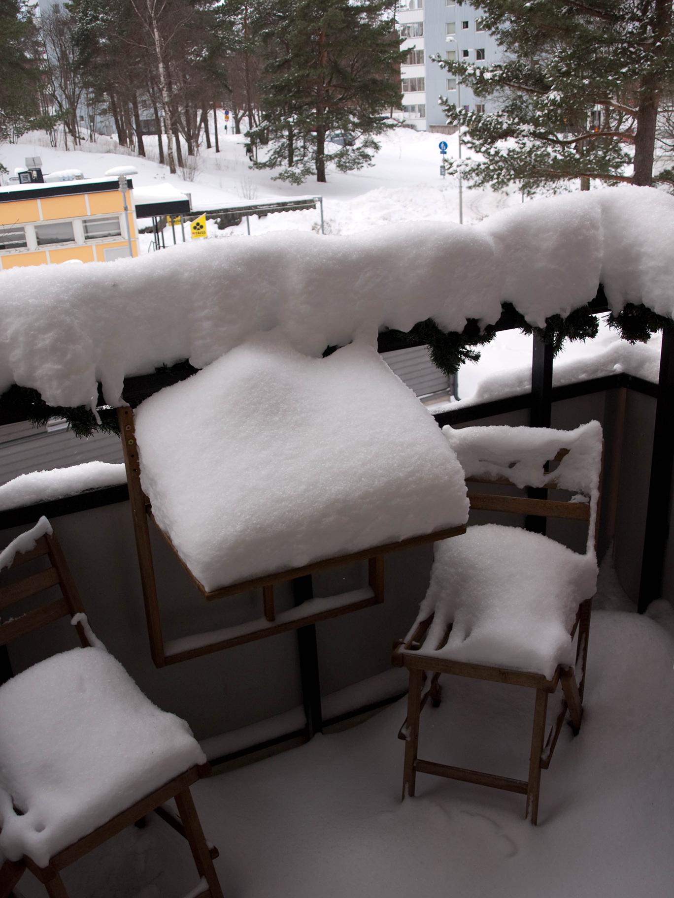 Jag har snö på min balkong, vad har du?